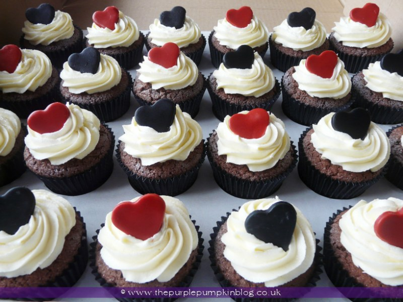 Red And Black Wedding Cupcakes