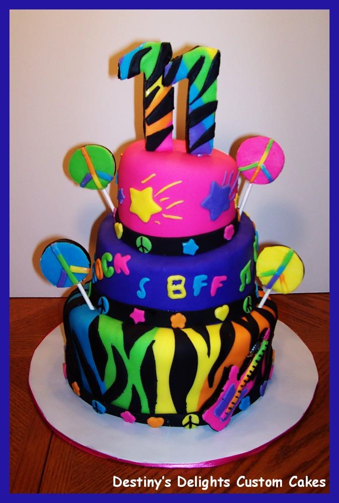 Remarkable 12 Neon Birthday Cakes For Teens Photo Teen Neon Birthday Cakes Birthday Cards Printable Giouspongecafe Filternl