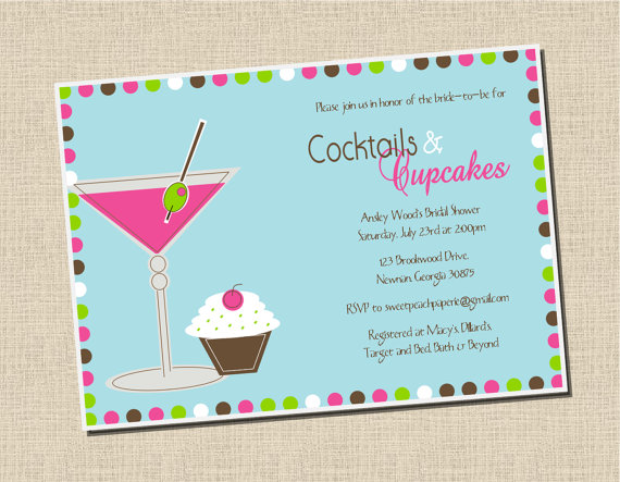 cupcakes and cocktails bridal shower invitation
