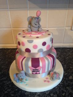 Superb 12 Elephant Birthday Cakes For Girls Photo Elephant Birthday Funny Birthday Cards Online Overcheapnameinfo