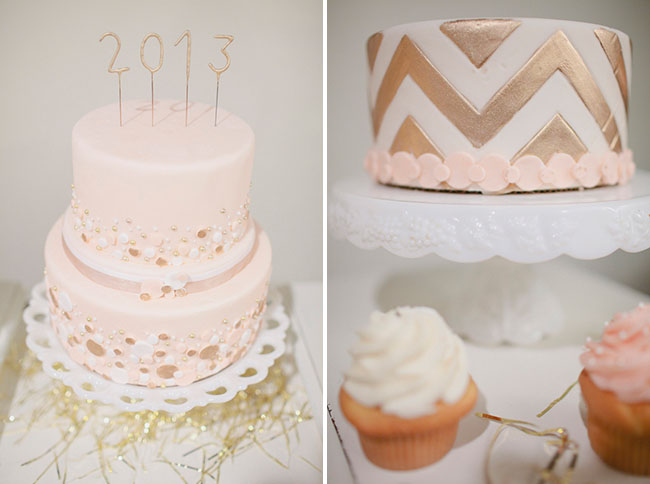 gold and pink bridal shower cake