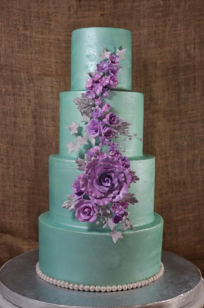 13 Purple Wedding Cakes Mint Photo Mint Green And Purple Wedding