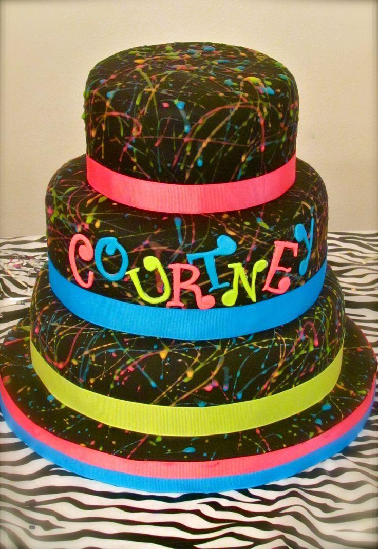 Stupendous 12 Neon 80S Birthday Cakes Photo Neon Birthday Party Cake Ideas Birthday Cards Printable Riciscafe Filternl