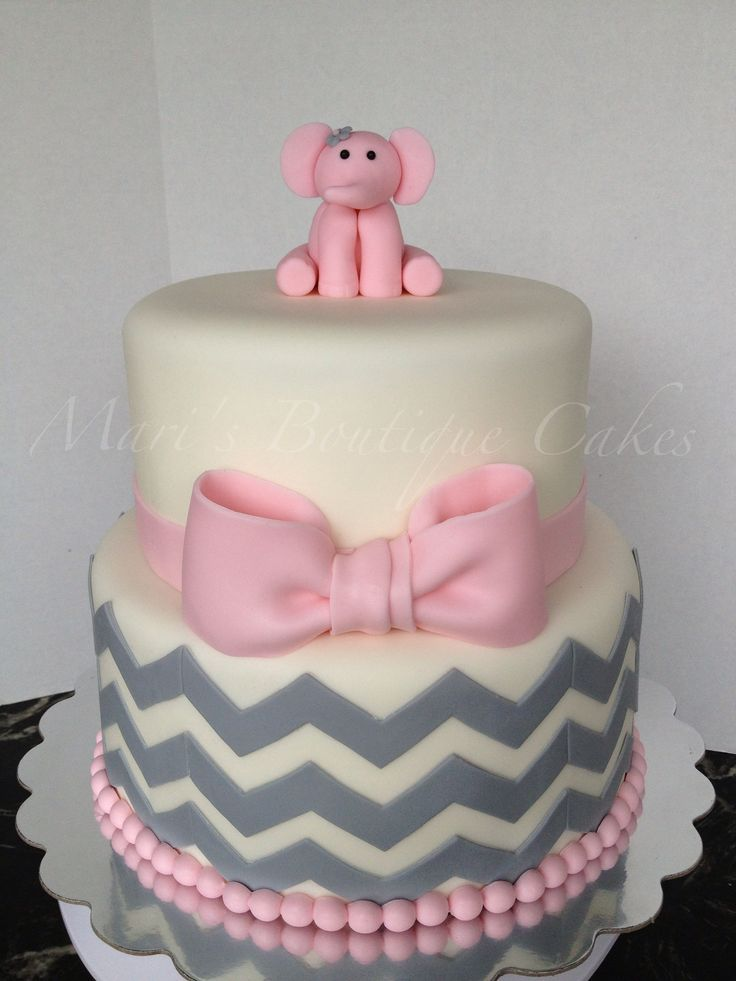11 Torquios And Pink Elephants Baby Shower Cakes Photo Teal and