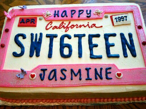 Birthday Sheet Cake Sweet 16 License Plate