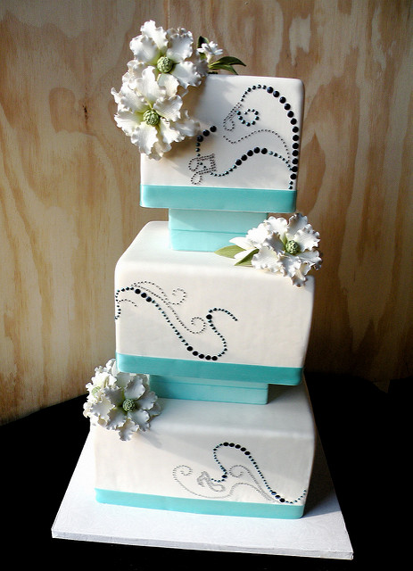 Blue and Gold Square Wedding Cakes