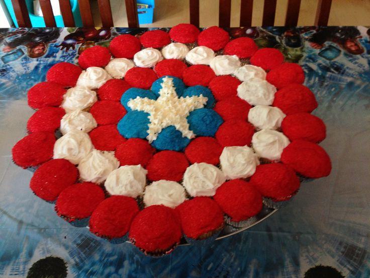 Captain America Cupcake Cake
