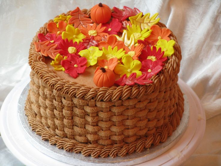 11 Basketweave Cakes Thanksgiving Photo Fall Birthday Cake Basket