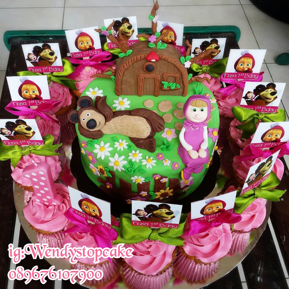 9 Masha And Bear Cupcakes Photo Masha The Bear And Cupcake Toppers