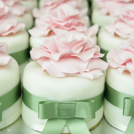 Mini Wedding Cakes Pink And Green