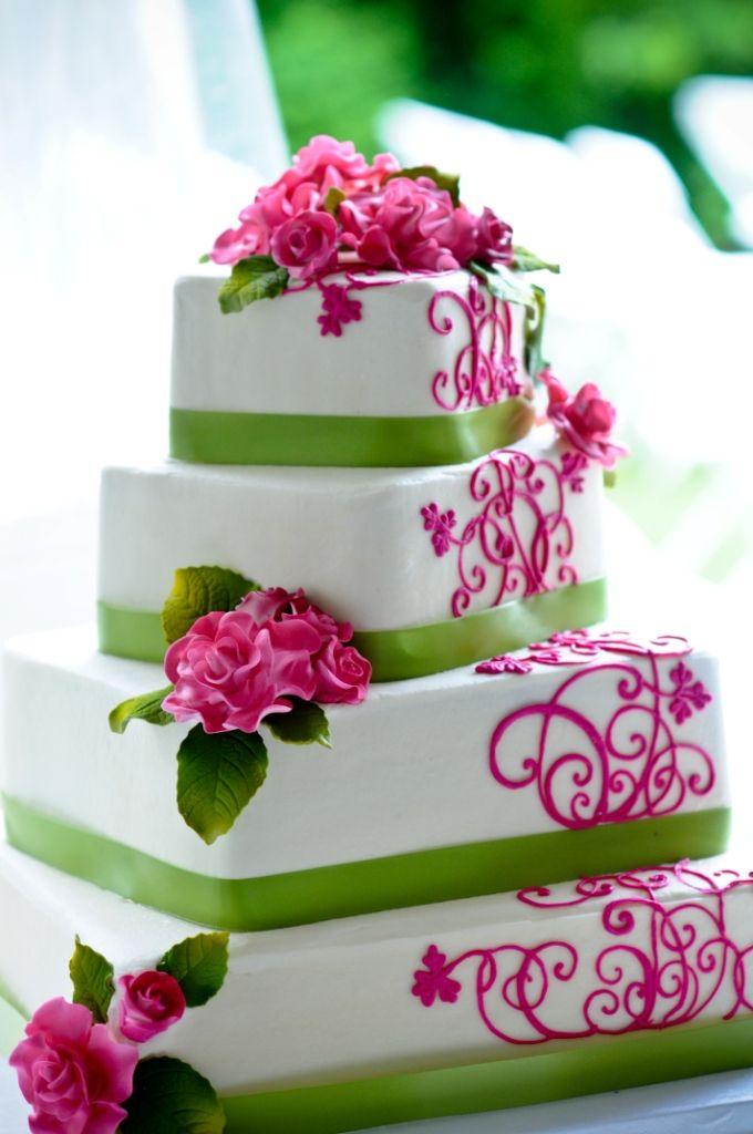 Pink And Lime Wedding Cake