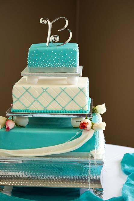 Purple And Turquoise Wedding Cake