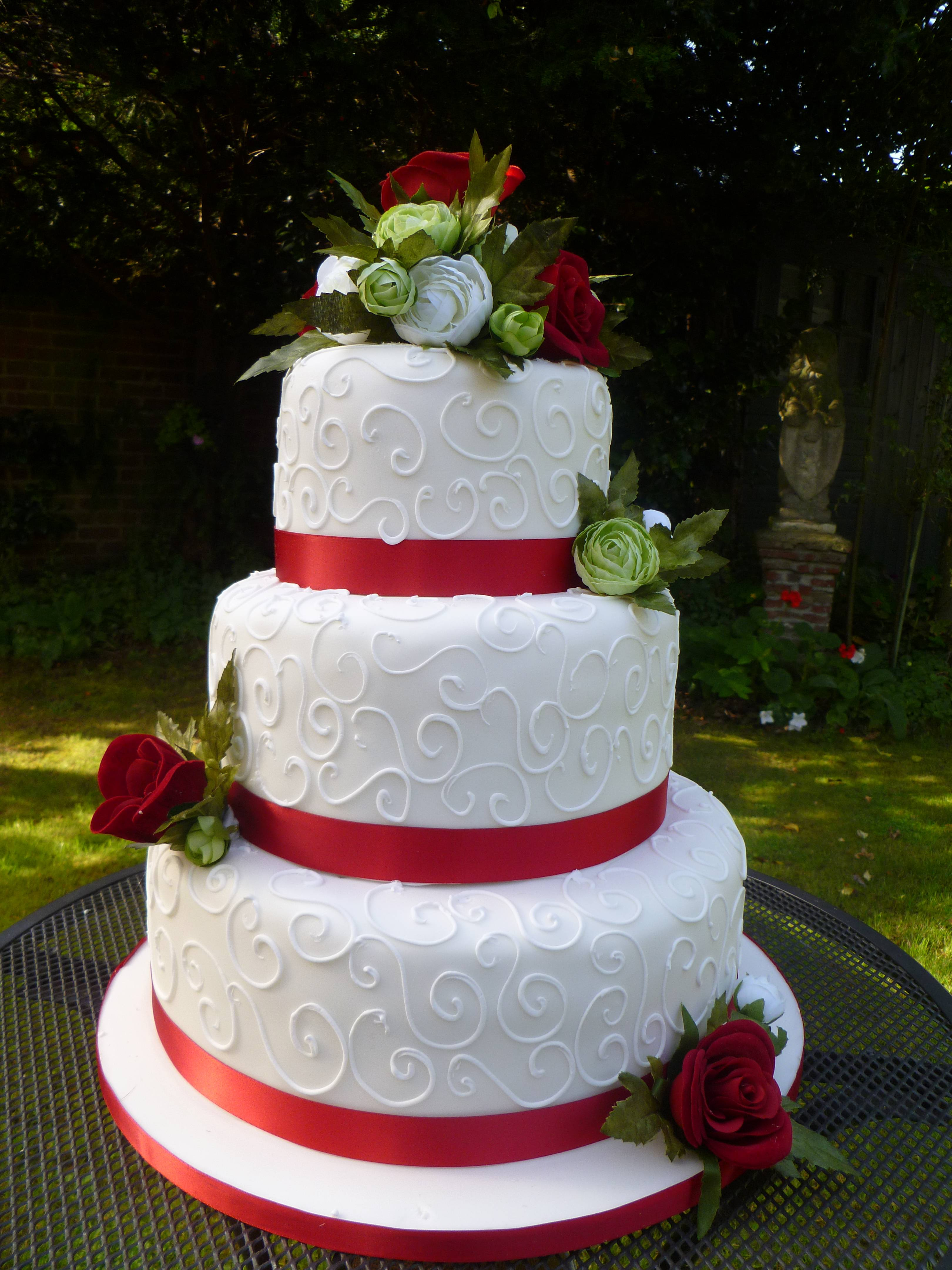 8 Red And White Ribbon Wedding Cakes Photo Red And White Wedding