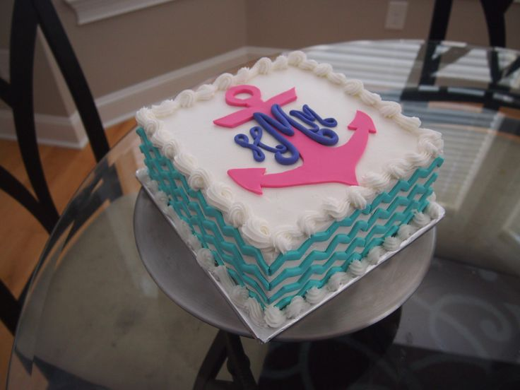 Awesome 7 Blue Birthday Cakes Monogram Photo Chevron Birthday Cake Funny Birthday Cards Online Alyptdamsfinfo