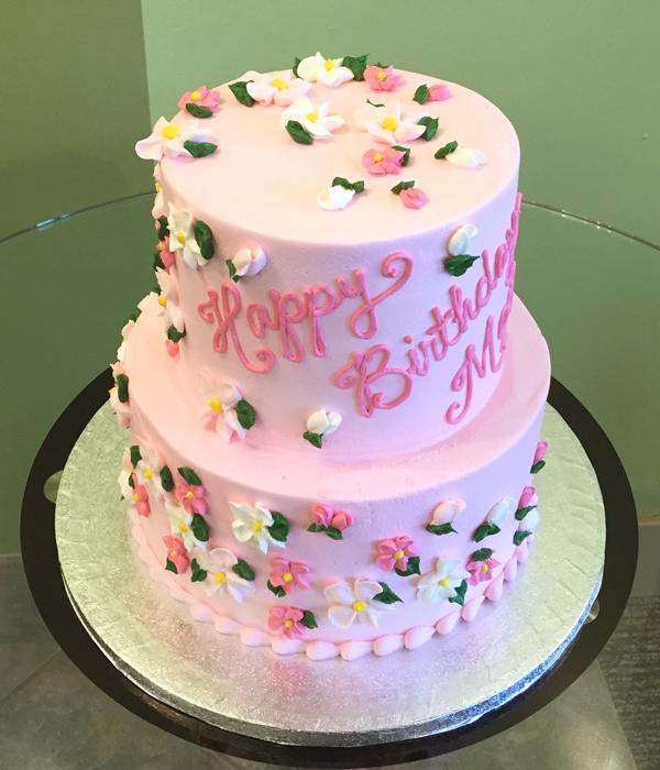 9 Flower Tiered Birthday Cakes Photo Two Tier Flower Birthday Cake