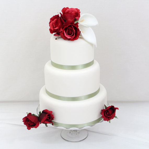 Silk flower cake toppers for wedding cakes flowers healthy red rose and calla lily wedding cake 9 wedding cakes with red roses and calla lilies photo red rose and artificial flower cake topper mightylinksfo