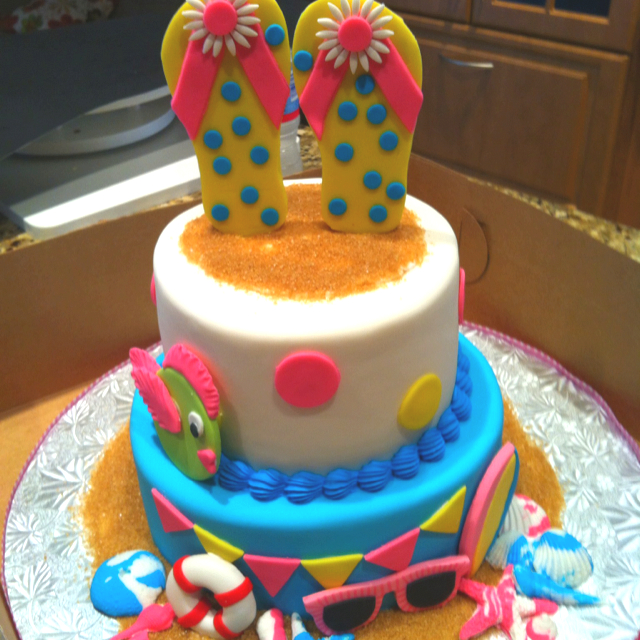 8 Summer Birthday Cakes Photo Summer Pool Party Birthday Cake