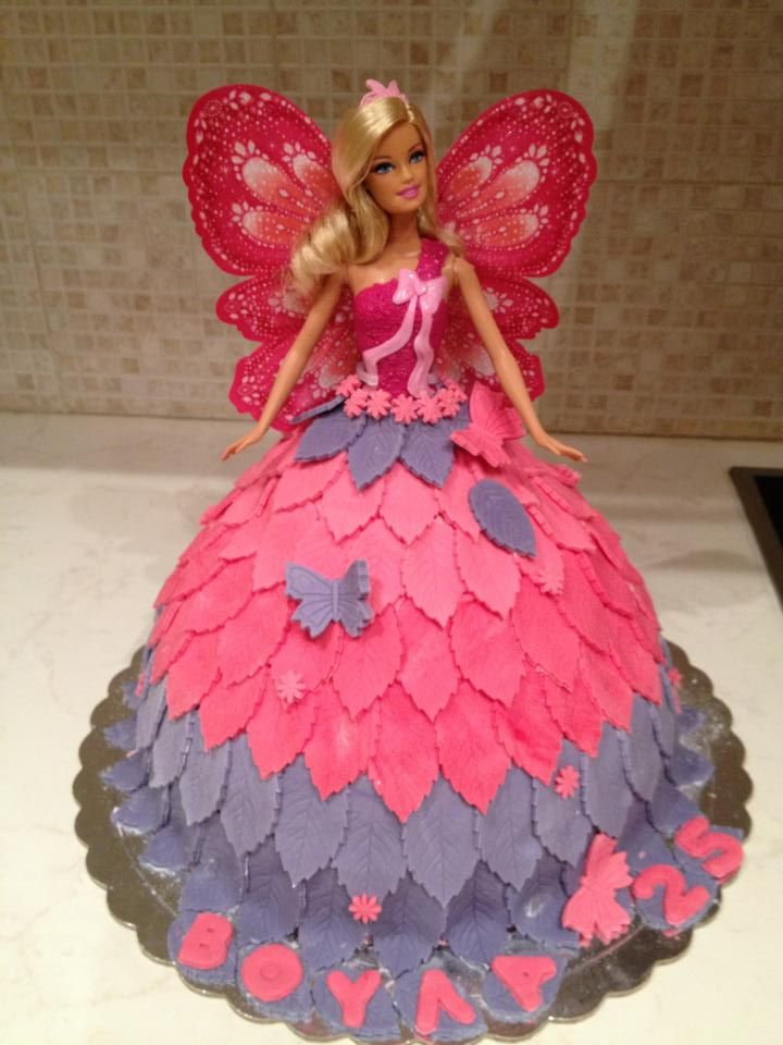 10 Doll Cakes For Girls Butterfly Photo Barbie Birthday Cake Idea
