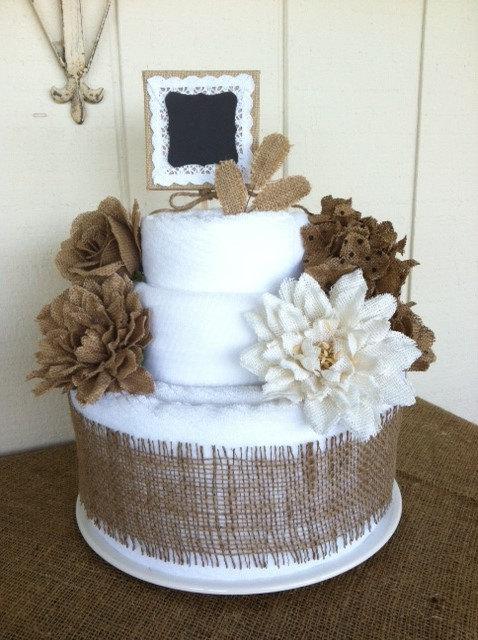 bath towel bridal shower cake