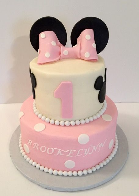 Fabulous 11 2 Tier First Birthday Baby Minnie Mouse Cakes Photo Minnie Funny Birthday Cards Online Alyptdamsfinfo