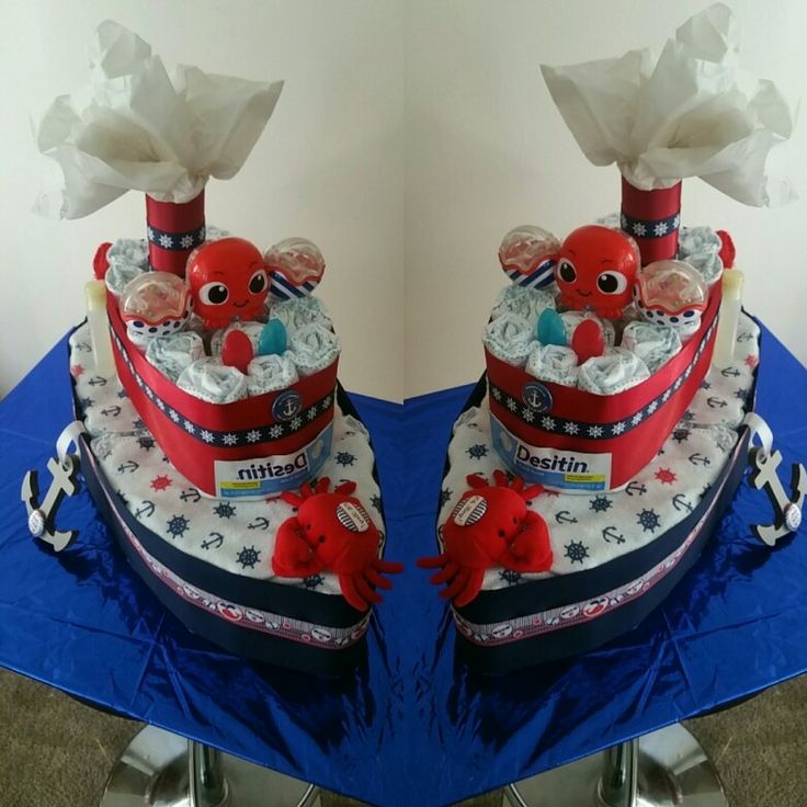 Nautical Theme Baby Shower Diaper Cake Boat