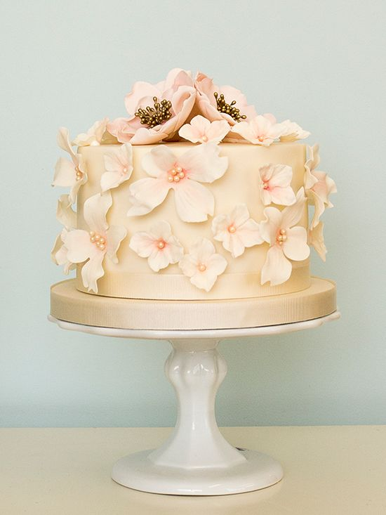 9 Flower Single Tier Wedding Cakes Photo - One Tier Wedding Cake ...