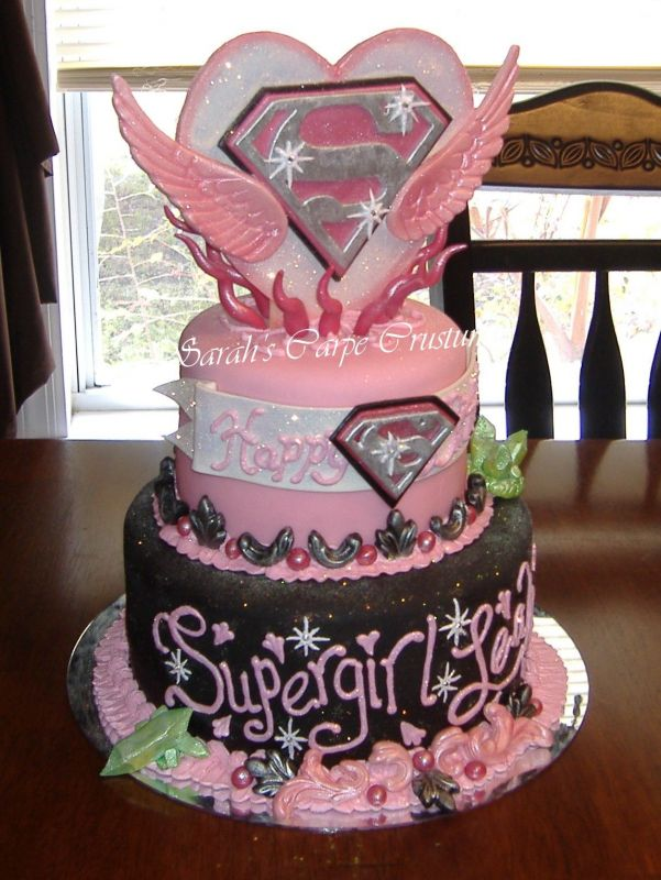 Superb 12 Supergirl Cakes Birthday Party Photo Supergirl Birthday Cake Funny Birthday Cards Online Elaedamsfinfo