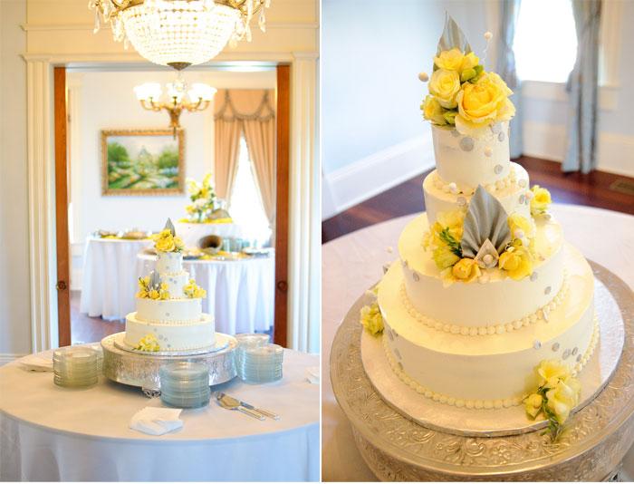 11 Grey Yellow White Cakes Photo - Yellow Gray and White Wedding ...