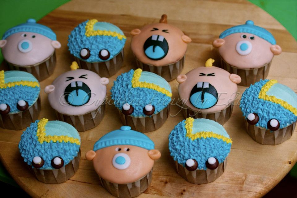 8 Blue And Brown Baby Boy Cupcakes Baby Shower Ideas Colors Photo