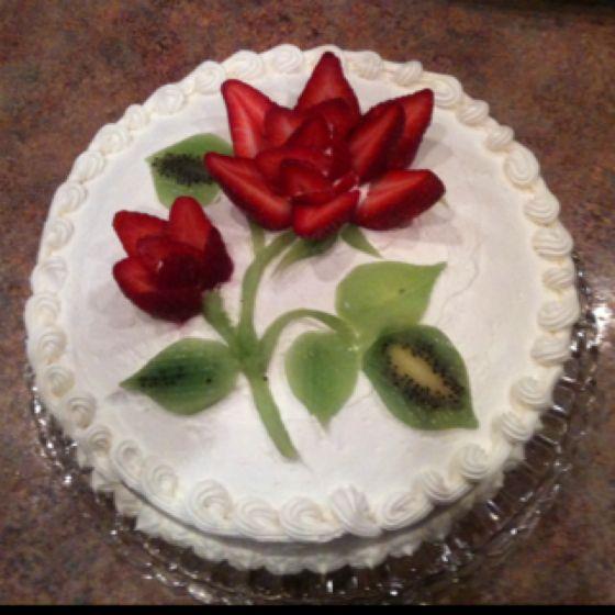 Fresh Strawberries In Fondant Cake