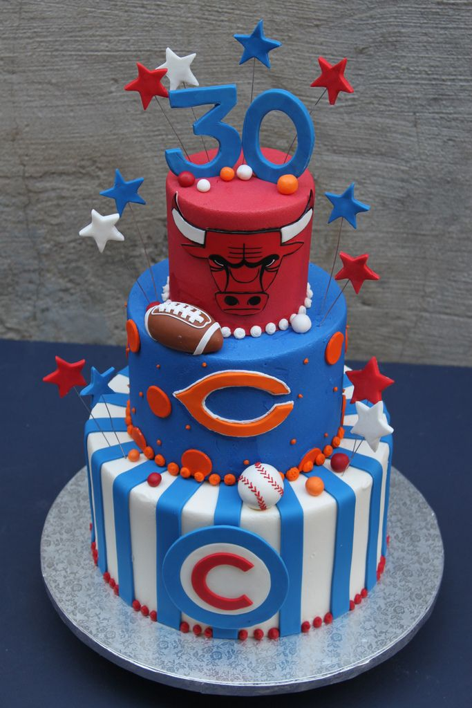 Groovy 10 Chicago Sports Cakes Photo Chicago Bears Blackhawks Cubs Cake Personalised Birthday Cards Petedlily Jamesorg