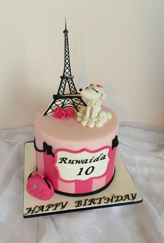 11 Eiffel Tower Poodles Girl Paris Themed Cakes Photo Paris Themed