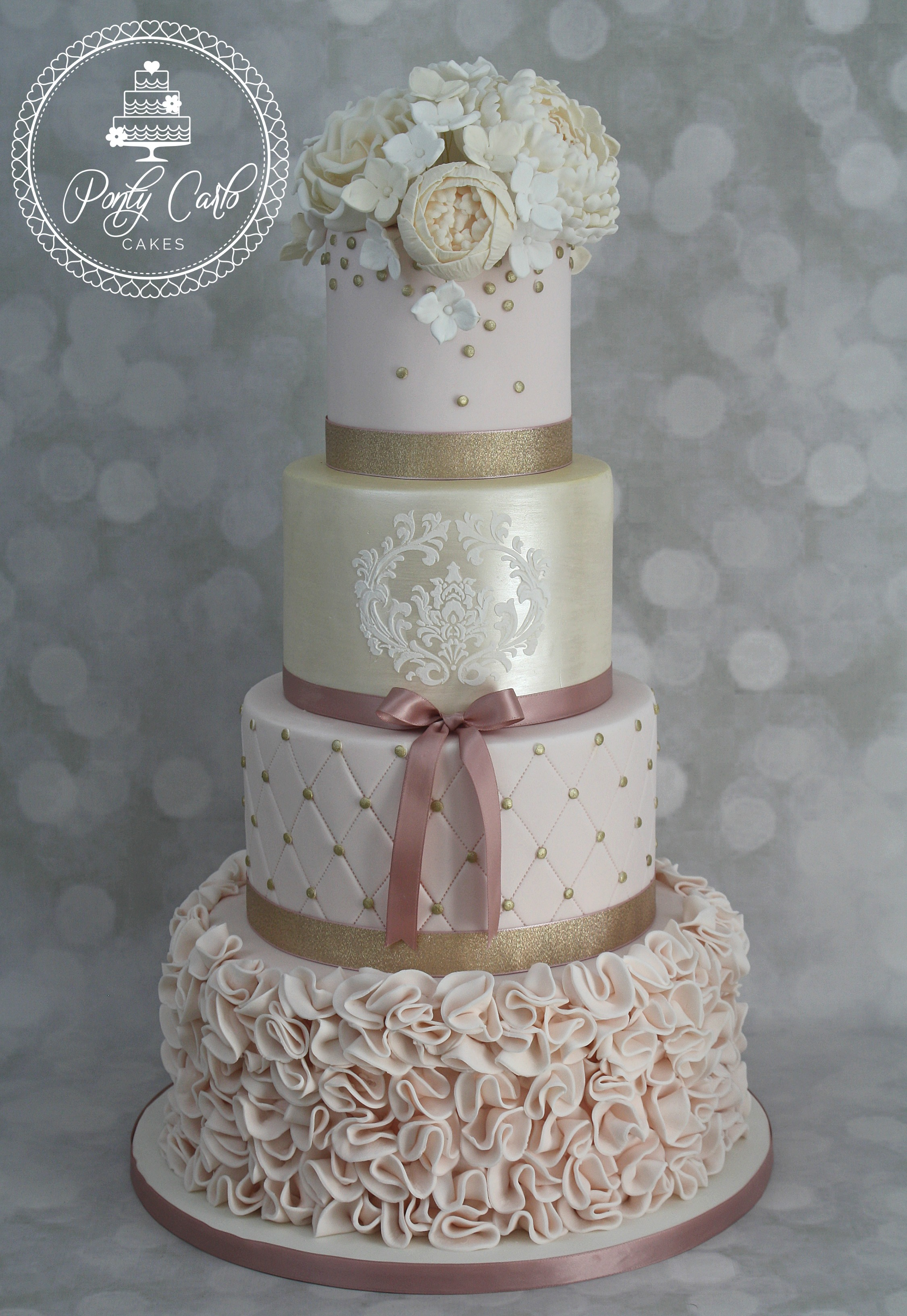 8 Staggered Wedding Cakes Four Tier Photo Square Wedding Cake