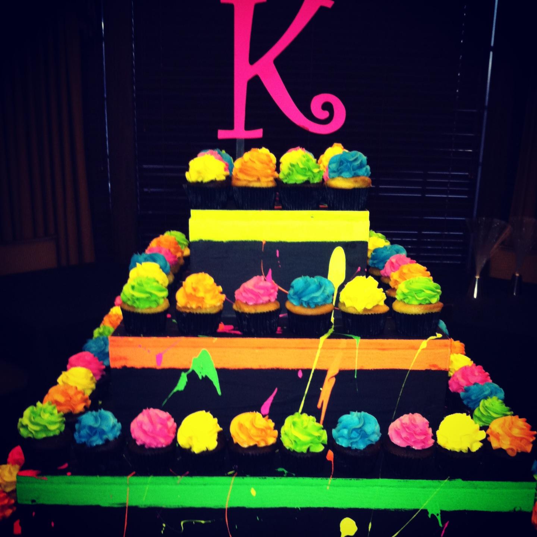11 Neon Birthday Cakes And Cupcakes Photo Neon 18th Birthday Cakes