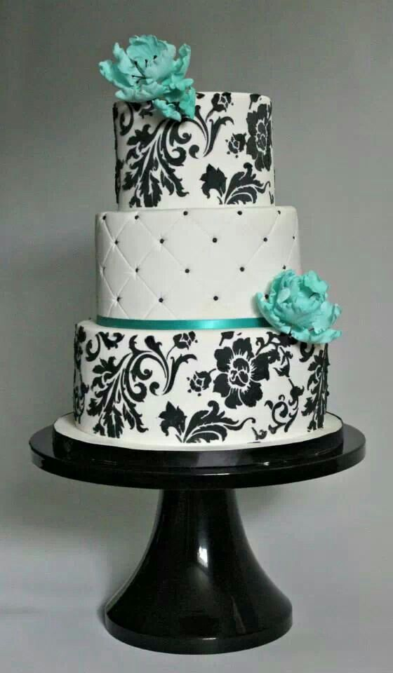 8 Turquoise Black And White Cakes Photo - Turquoise Black and White ...