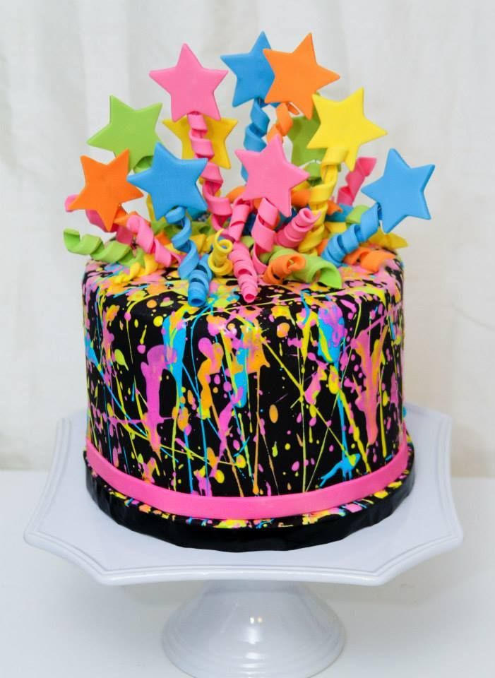 11 Neon Color Birthday Cakes For Teenage Girls Photo Neon Splatter