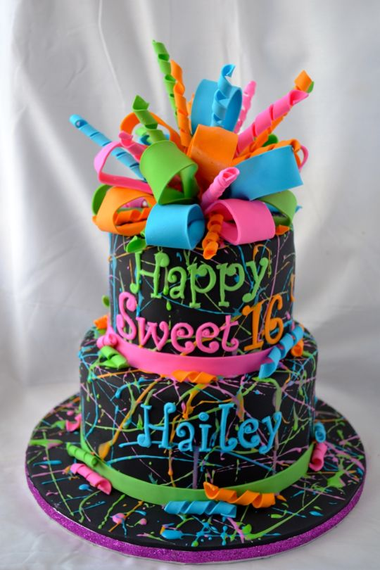11 Neon Color Birthday Cakes For Teenage Girls Photo Neon Splatter