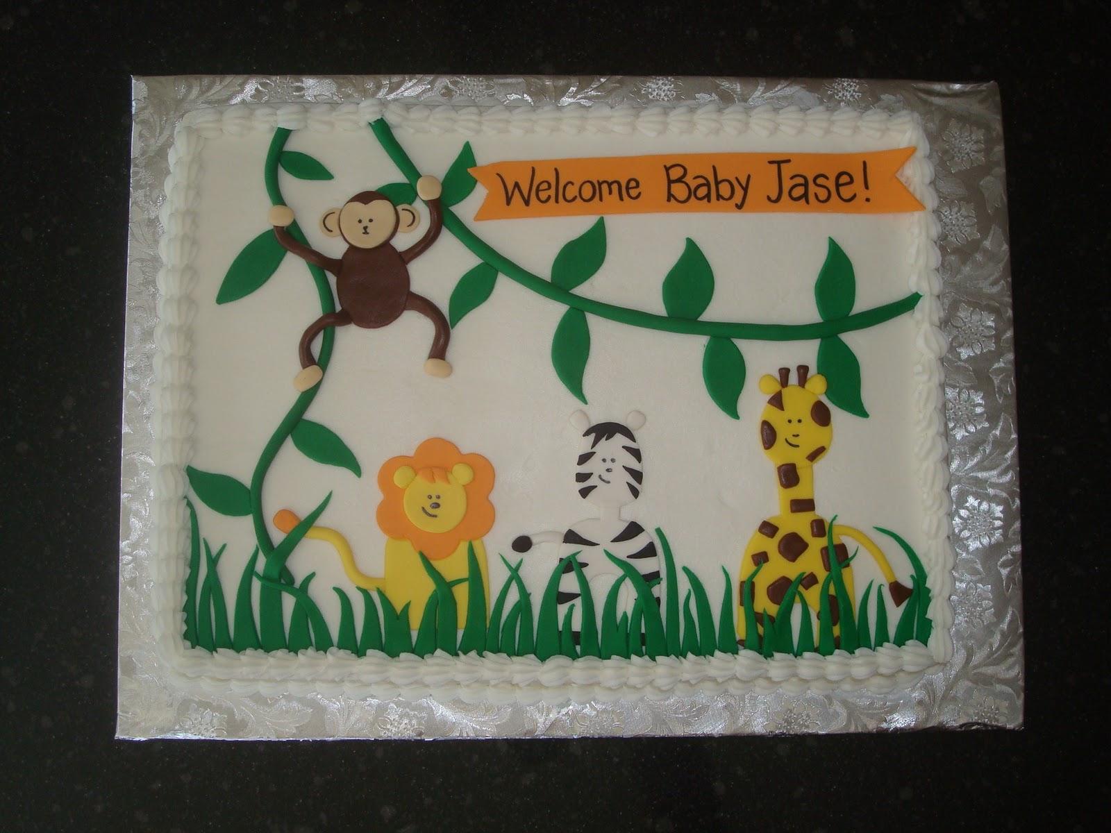 12 Safari Boy Baby Shower Sheet Cakes Photo Jungle Safari Baby