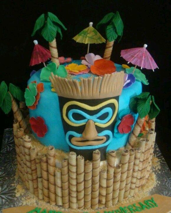 Fantastic 11 Layered Tiki Cakes Photo Luau Birthday Cake Ideas Tiki Funny Birthday Cards Online Elaedamsfinfo
