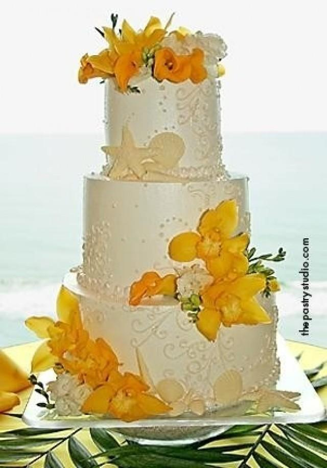 7 Beach Wedding Cakes With Flowers Photo - Yellow Tropical Wedding ...