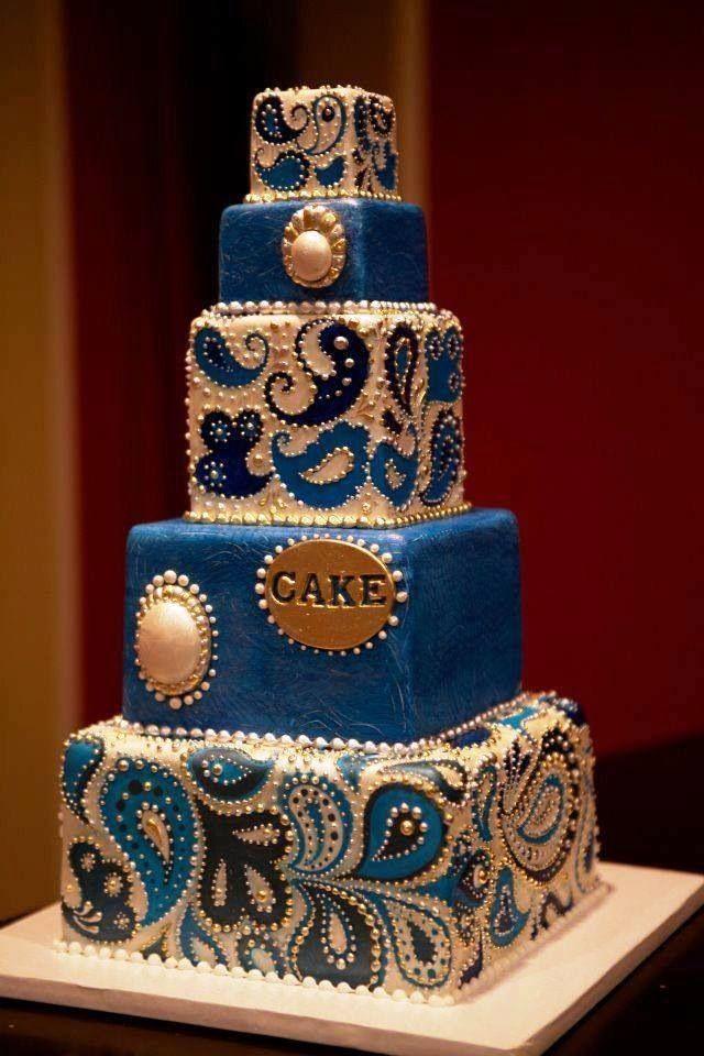 10 Wedding Cakes Paisley Stencil Photo Paisley Wedding Cake