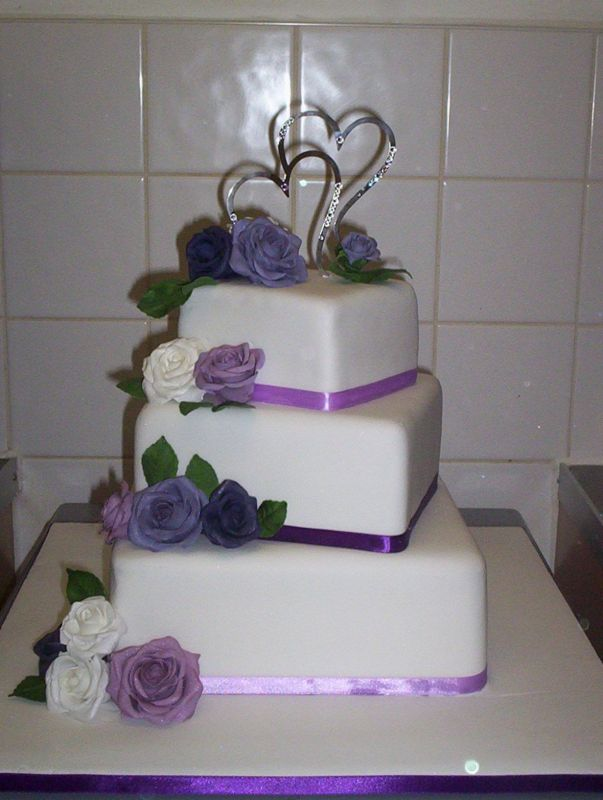 Square 3 Tier Wedding Cake - Wedding Cake Flavors