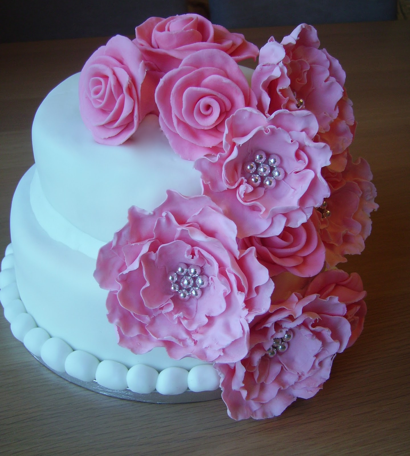 Chocolate Birthday Cake with Pink Flowers