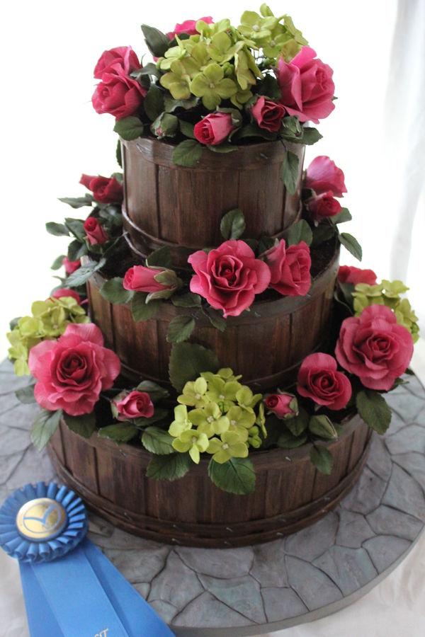 8 Flower Basket Birthday Cakes Of Fondant Photo Fondant Garden