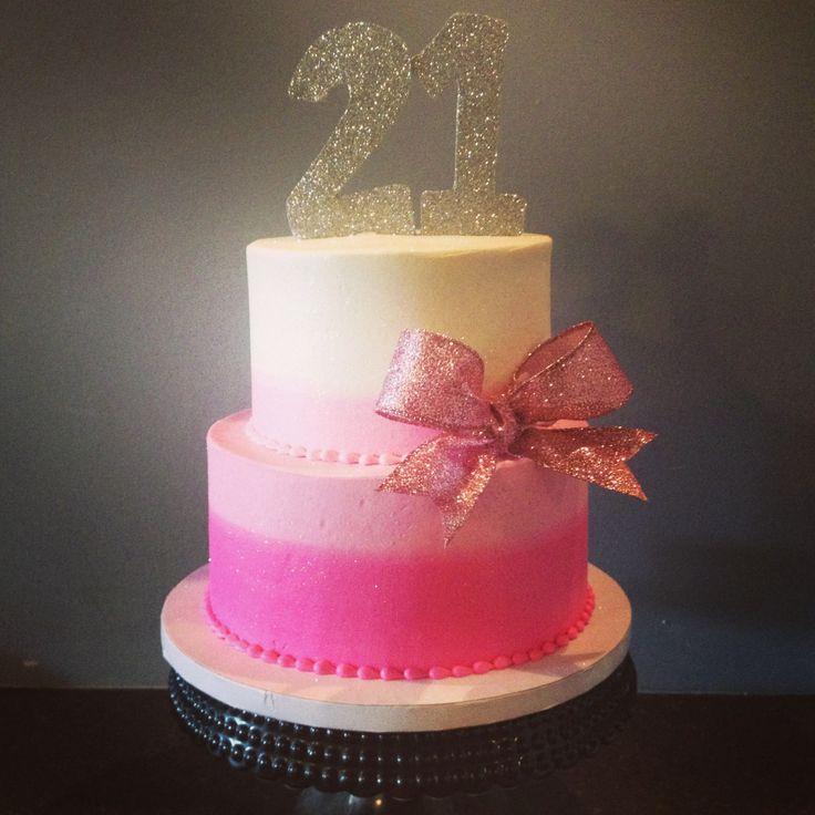 Pink Glitter Birthday Cake