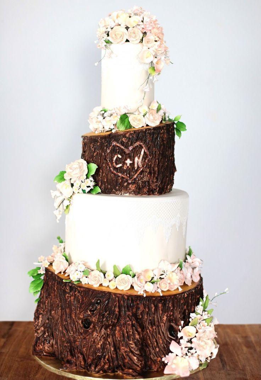 10 Wood Country Themed Wedding Cakes Photo - Wood-Wedding-Cake-Stand ...