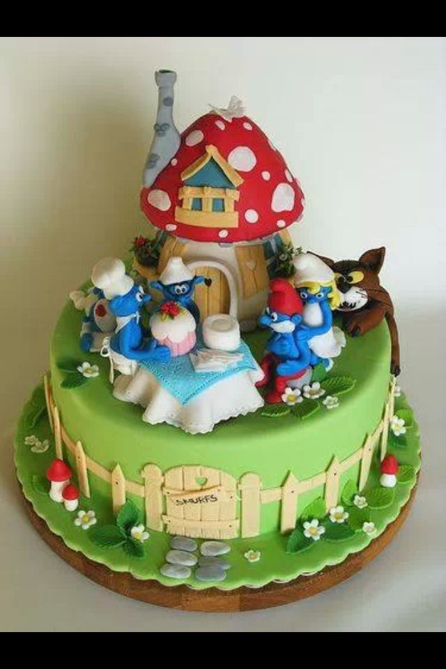 12 Smurfs Birthday Cakes Photo Smurfs Birthday Cake Smurf