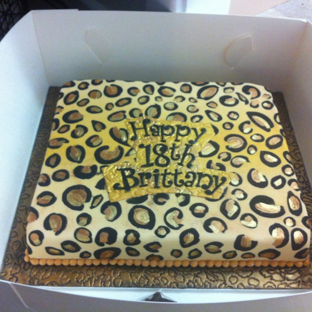 18th Birthday Leopard Print Cake