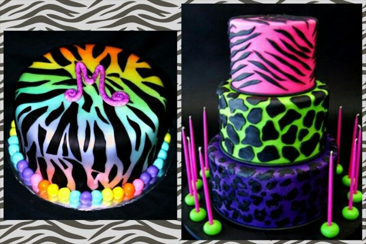 10 Neon Giraffe Print Cakes For Girls Photo Neon Zebra Print Cake