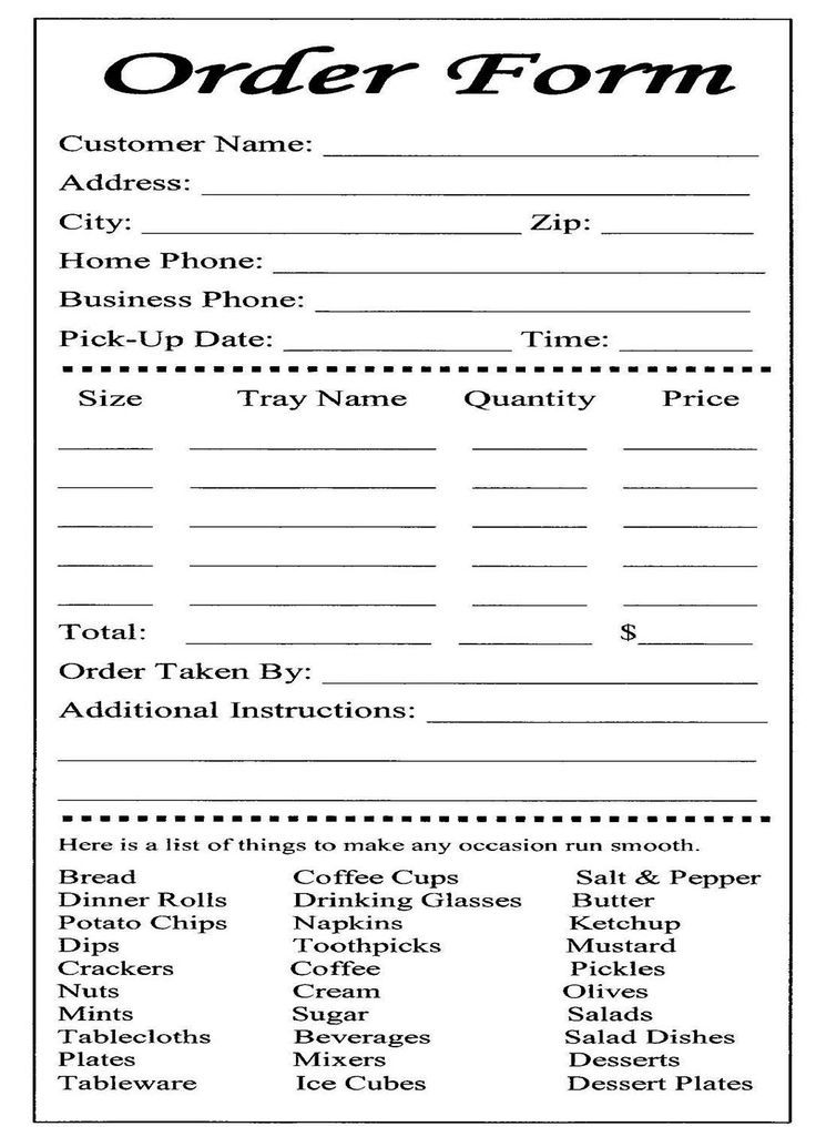Free Printable Order Form Template Free Printable Order Form